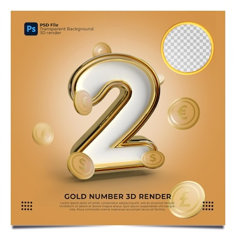Numer 2 3d render złoty styl z elementem