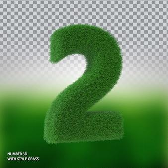 Numer 2 3d ze stylową trawą