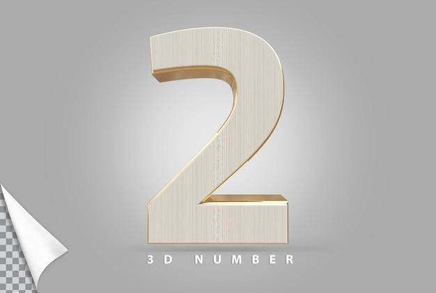 Numer 2 renderowania 3d złoty w stylu drewna