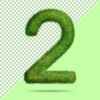 Numer 2 z realistyczną trawą 3d