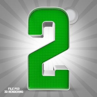 Numer 2 zielony renderowanie 3d