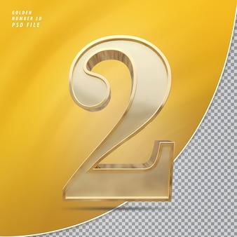 Numer 2 Złoto Premium Psd