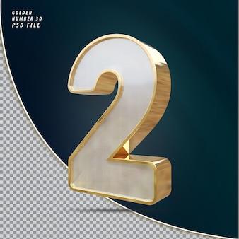 Numer 2 złoty luksusowy render 3d