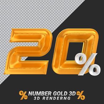 Numer 20 złote renderowanie 3d