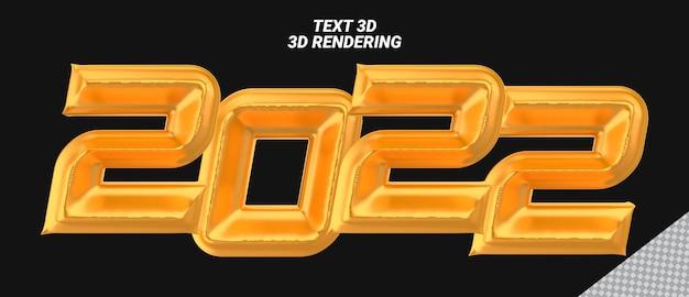 Numer 2022 złote renderowanie 3d