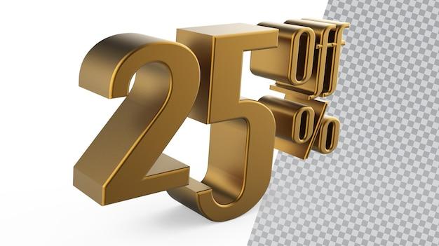 Numer 25 złote renderowanie 3d