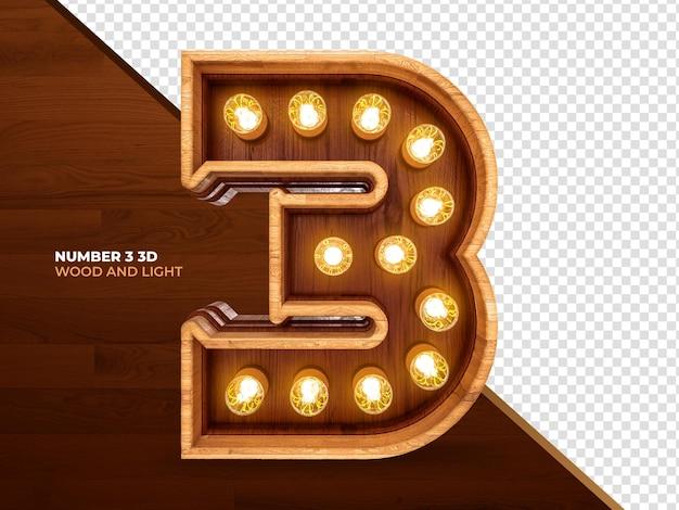 Numer 3 3d render drewna z realistycznymi światłami