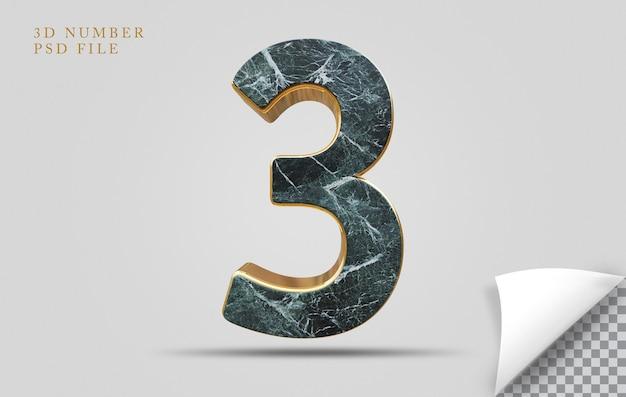 Numer 3 3d render tekstury kamienia ze złotym
