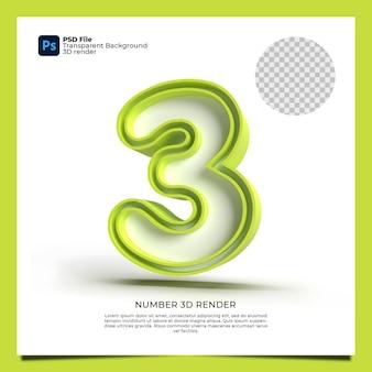 Numer 3 3d render zielony kolor