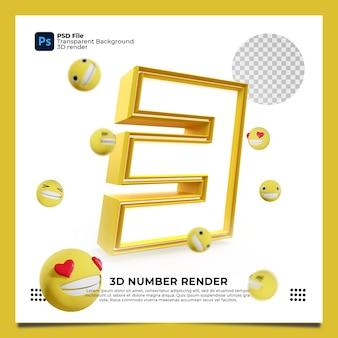 Numer 3 3d render żółty kolor z elementami