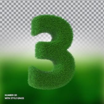 Numer 3 3d ze stylową trawą