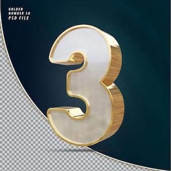 Numer 3 złoty luksusowy render 3d