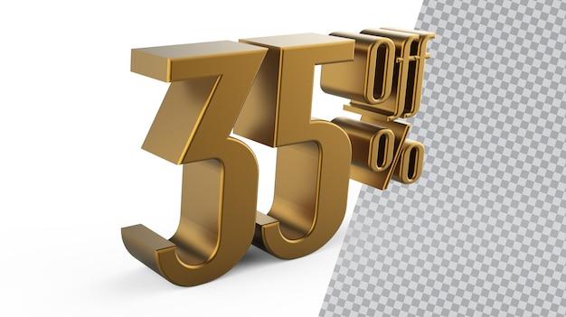Numer 35 złote renderowanie 3d