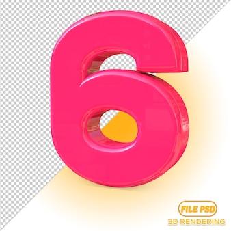 Numer 3d 6 wybór wszystkich kolorów
