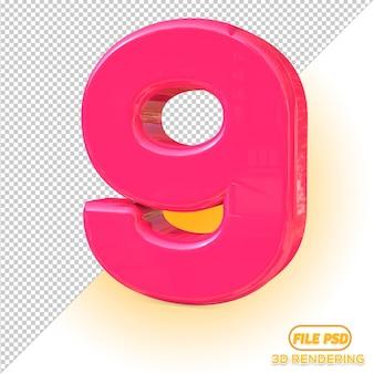 Numer 3d 9 wybór wszystkich kolorów