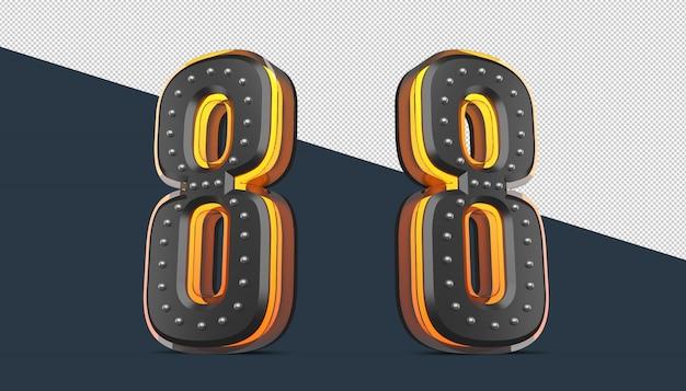 Numer 3d z dekoracją pinezki i efektem światła neonowego