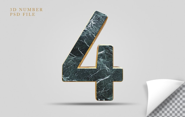 Numer 4 3d render tekstury kamień ze złotym