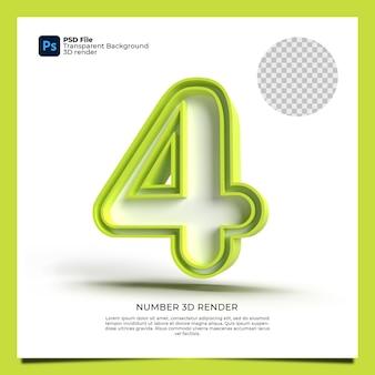 Numer 4 3d render zielony kolor