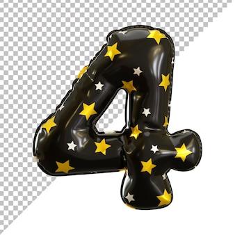 Numer 4 cztery realistyczny motyw halloween z czarnym balonem