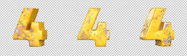 Numer 4 (cztery) z zestawu liczb metalicznych żółty grunge. odosobniony. renderowanie 3d