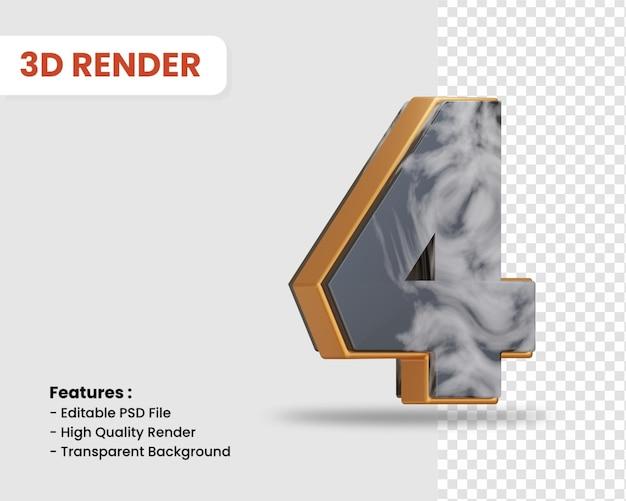 Numer 4 renderowania 3d na białym tle z czarną białą marmurową teksturą