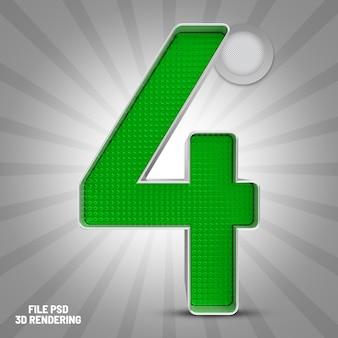 Numer 4 zielony renderowanie 3d