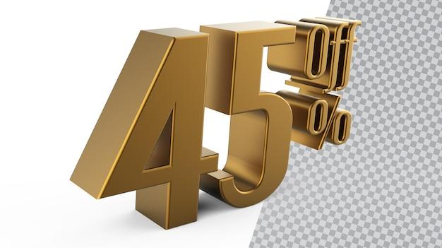 Numer 45 złote renderowanie 3d