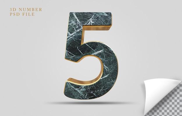 Numer 5 3d render tekstury kamienia ze złotym