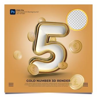 Numer 5 3d render złoty styl z elementem