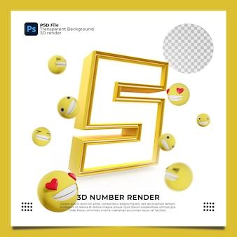 Numer 5 3d render żółty kolor z elementami