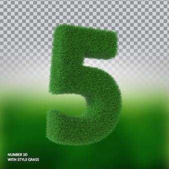 Numer 5 3d ze stylową trawą