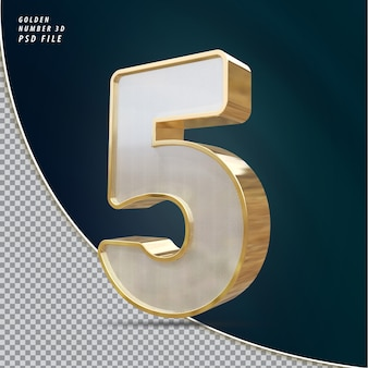 Numer 5 złoty luksusowy render 3d