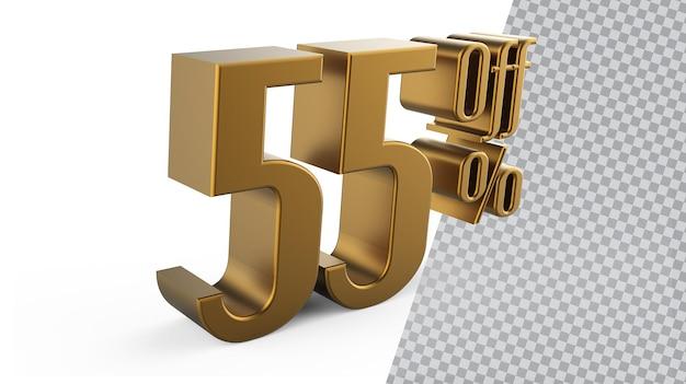 Numer 55 złote renderowanie 3d