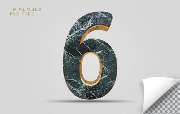 Numer 6 3d render tekstury kamienia ze złotym
