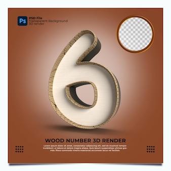 Numer 6 3d render w stylu drewna z elementami