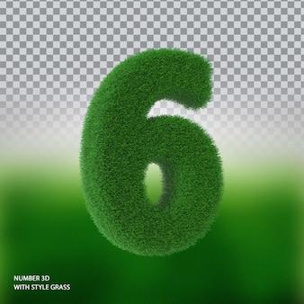 Numer 6 3d ze stylową trawą