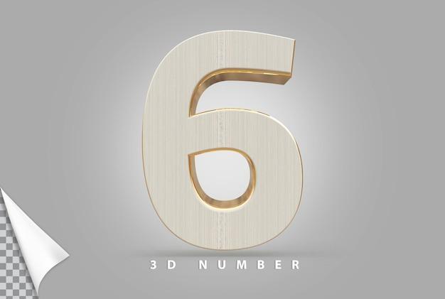 Numer 6 renderowania 3d złoty w stylu drewna