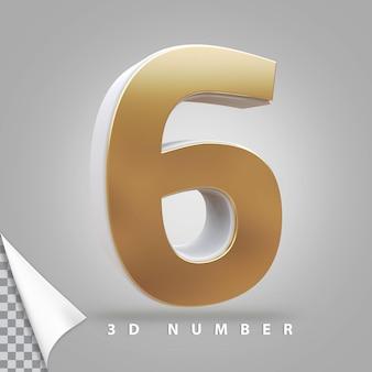 Numer 6 renderowania 3d złoty