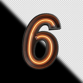 Numer 6 Wykonany Z Neon Light Premium Psd