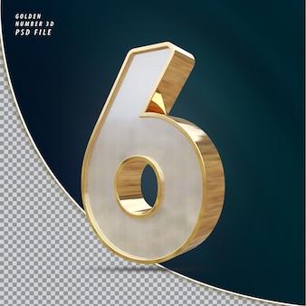 Numer 6 złoty luksusowy render 3d