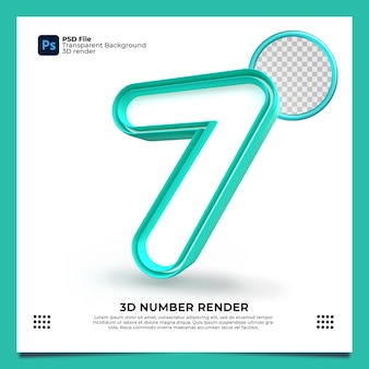 Numer 7 3d render zielony kolor z elementami