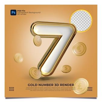 Numer 7 3d render złoty styl z elementem