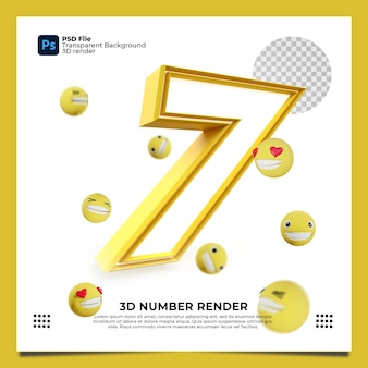 Numer 7 3d render żółty kolor z elementami