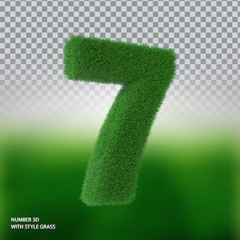Numer 7 3d ze stylową trawą