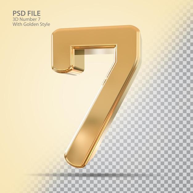 Numer 7 3d ze złotym stylem