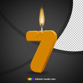 Numer 7 płonąca świeczka urodzinowa z płomieniem jako element dekoracji ciasta