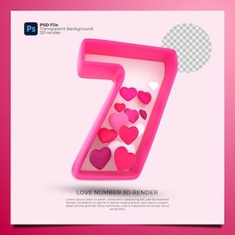 Numer 7 renderowania 3d różowy kolor z ikoną miłości