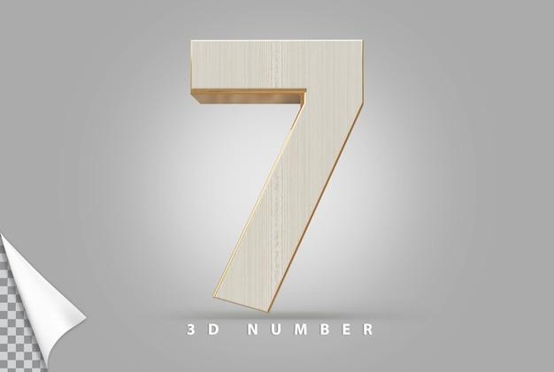Numer 7 renderowania 3d złoty w stylu drewna