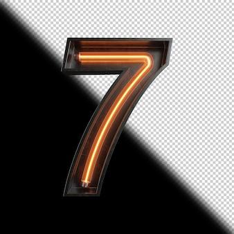 Numer 7 wykonany z neon light