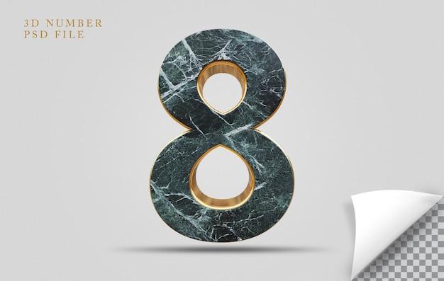 Numer 8 3d render tekstury kamienia ze złotym
